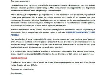 COMMUNIQUE COMITE REGIONAL CYCLISME (18/03/2020)