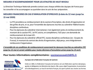 COMMUNIQUE FFC - MESURES D'ACCOMPAGNEMENTS COVID-19