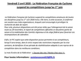 COMMUNIQUE FFC - VENDREDI 03/4/2020