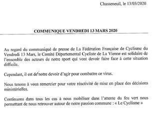 Communiqué CD86 - Annulation des épreuves cyclistes