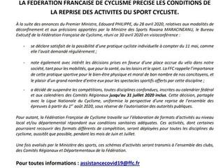 La suspension des épreuves du calendrier national et régional est prolongée jusqu'au 31 juillet incl