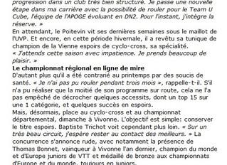 Baptiste TRICHOT à «la Une»