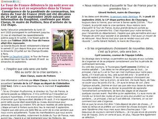 TOUR DE FRANCE - LE REPORT DU 29 AOUT AU 20 SEPTEMBRE 2020