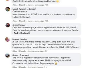 Les messages de condoléances pour Jacky...