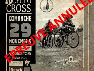 10ème cyclo-cross de Vouneuil/Sous/Biard annulée