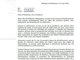 Lettre de Michel Callot à Mme La Ministre des sports...