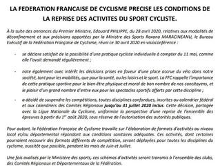 Communiqué FFC du 2 Mai 2020