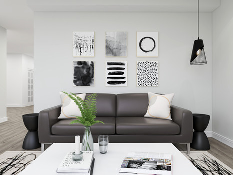Minimal & japandi style living room in a Richmond Hill home