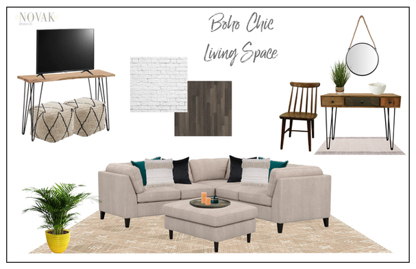 boho living room with a large yellow planter