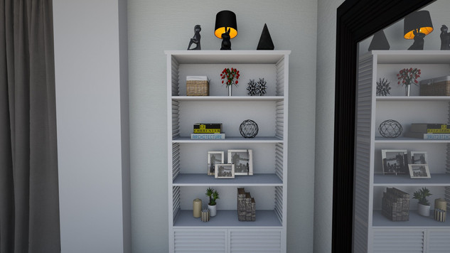 styled bookcase in modern condo
