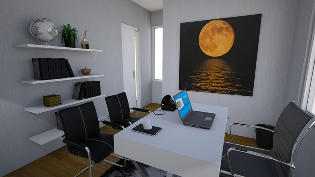modern luxe mascaline office with artwork