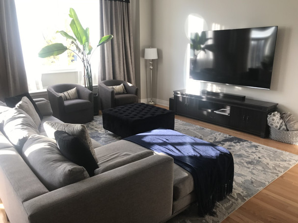 Giant plant in a modern luxe family room in Vaughan