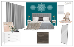Teal accent wall in master bedroom with stencil