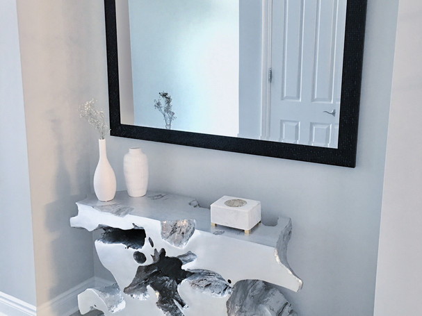Restoration Hardware silver wood console table