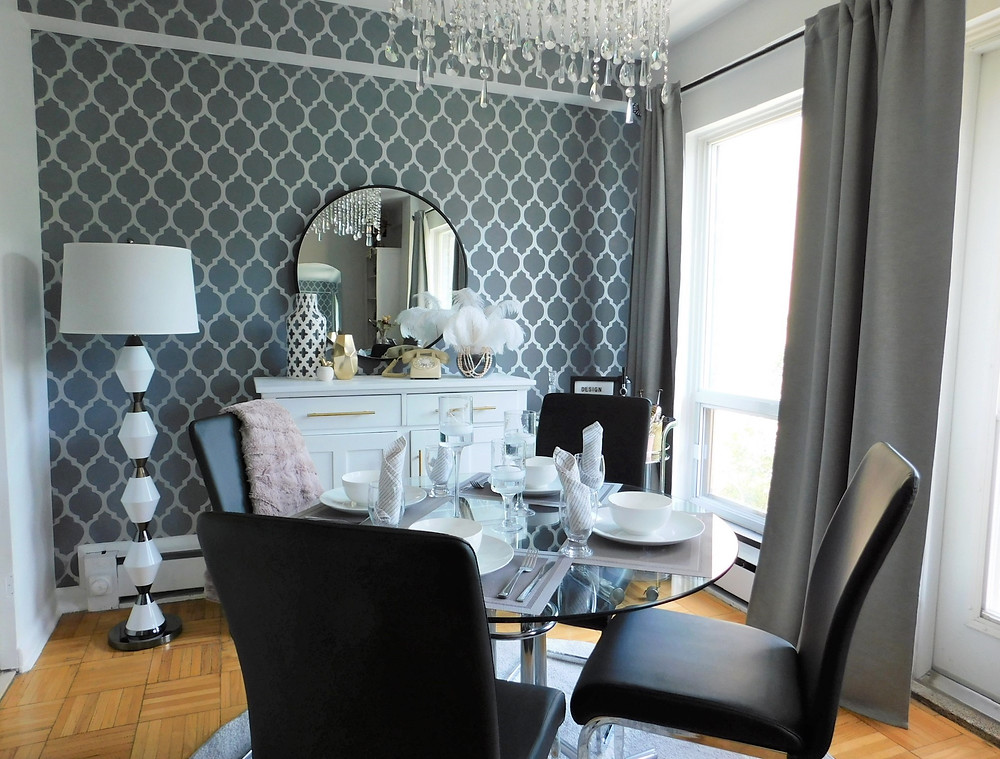 black leather dining chairs with chandelier