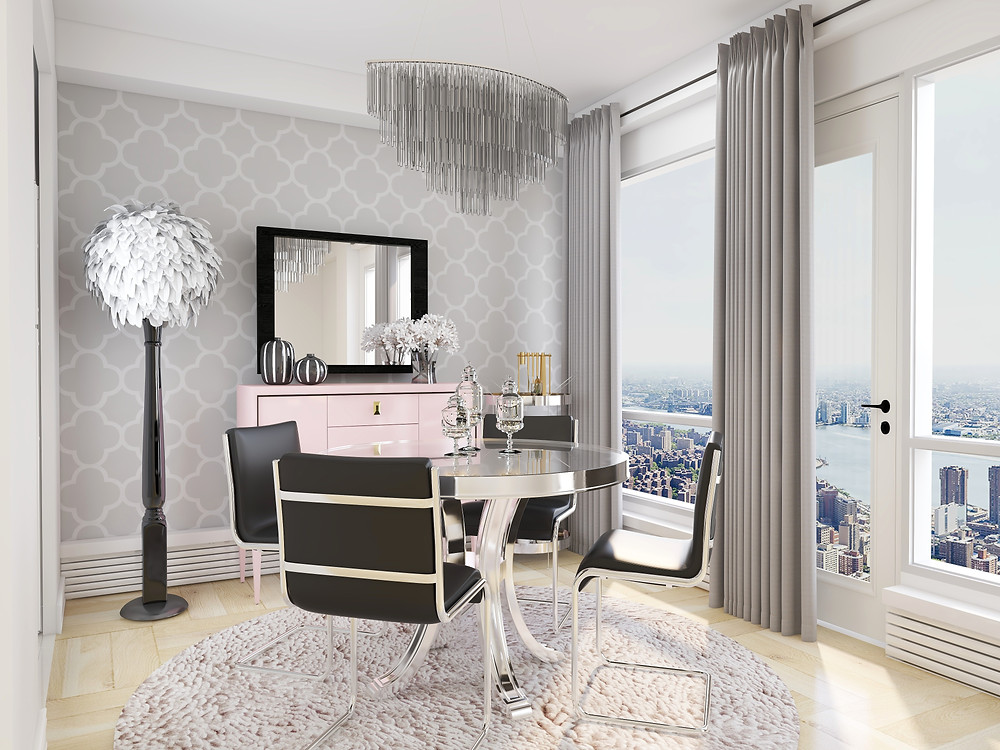 Feather floor lamp in glam dining room with pink buffet and black mirror