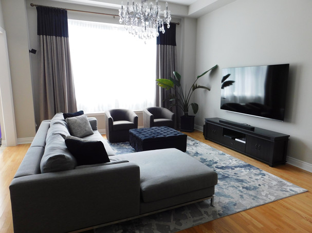modern luxe family room with big sectional