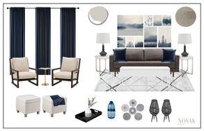 Organic and minimal family room with navy blue and beige accents