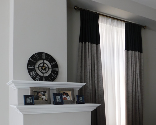 custom curtains and drapes beside mantel