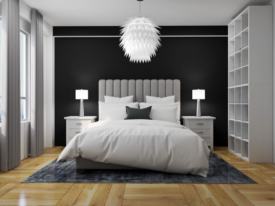Master bedroom with black accent wall and tall headboard
