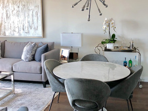 modern chic open concept living and dining room