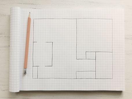 rough hand drawn floor plan