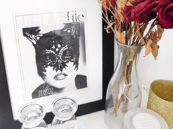 magazine artwork and glassware