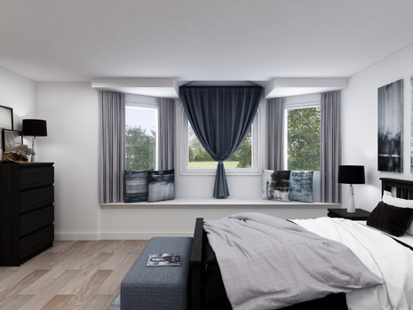 how to hang curtains above a window bench in a master bedroom
