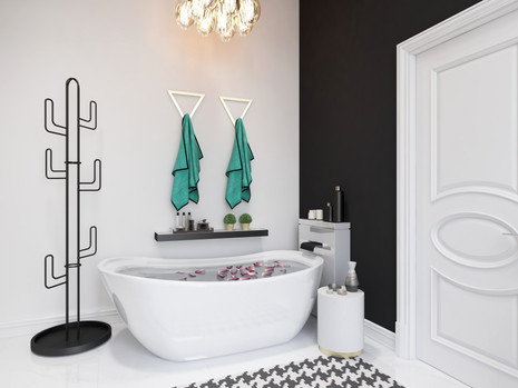 Black accent wall in bathroom