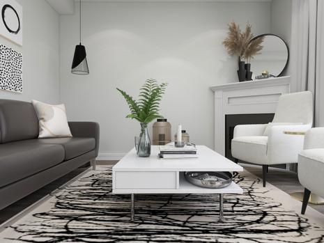 IKEA coffee table on a bold beige rug