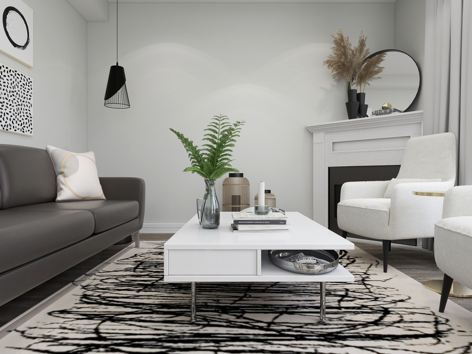 IKEA coffee table on a bold beige rug