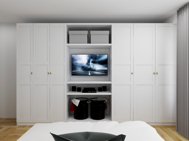 built-in wardrobe or walk in closet styled through interior edesign