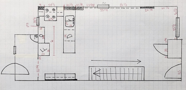 rough floor plan with measurements and dimensions, stairs, mudroom, closet