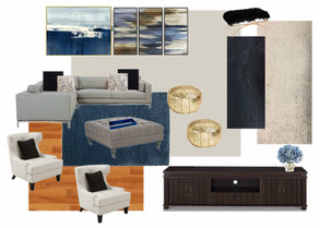 modern luxe family room concept board