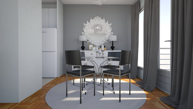 luxe dining room with feature wall