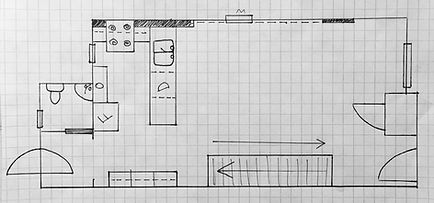 hand drawn floor plan, dimensions, measurements, main floor, living room, kitchen, entry