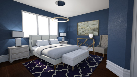 blue modern luxe master bedroom