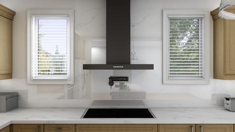 Black range hood in a modern kitchen