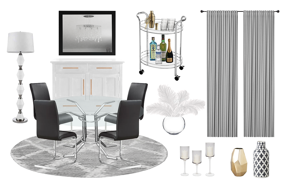 Posh Glam dining room concept board for the final interior design look, black chairs, floor lamp, black mirror, white buffet, grey ikea curtains VILBORG, gold vase and white ostrich feathers, modern rug