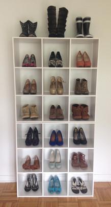styled cube shoe display rack