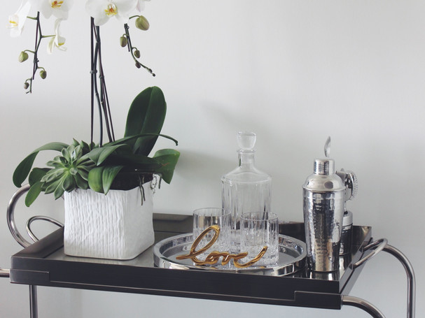 luxe silver styled bar cart with alcohol and glassware