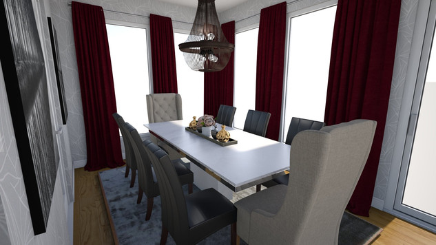 chandelair over dining table