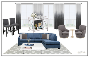 Glam living room in Burlington home with 20 foot ceilings
