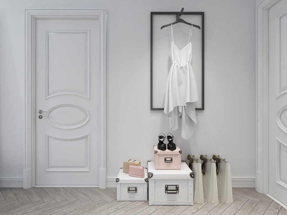 Chic dress display in a master bedroom