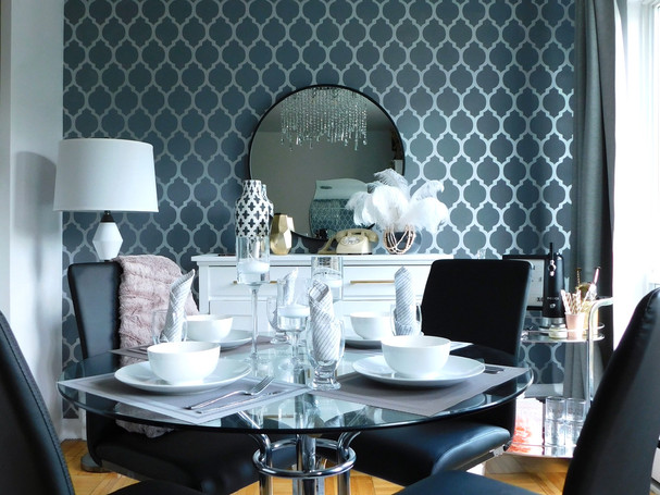 Glam dining room in toronto with stencilled wall
