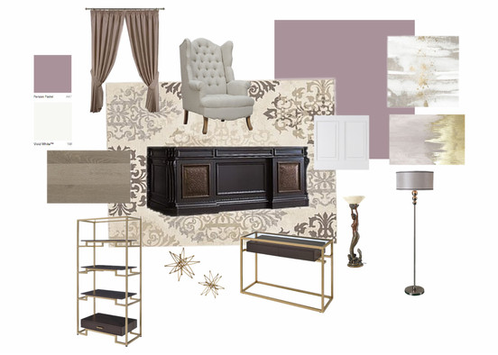 chic lilac home office mood board
