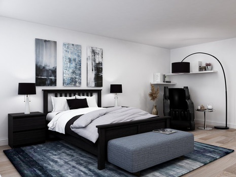 wood bed frame in a modern room