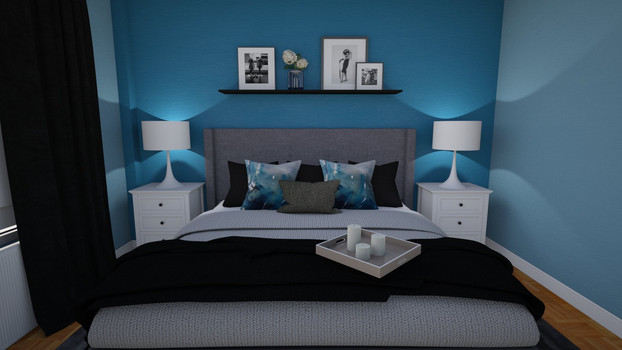 blue master bedroom with picture shelf