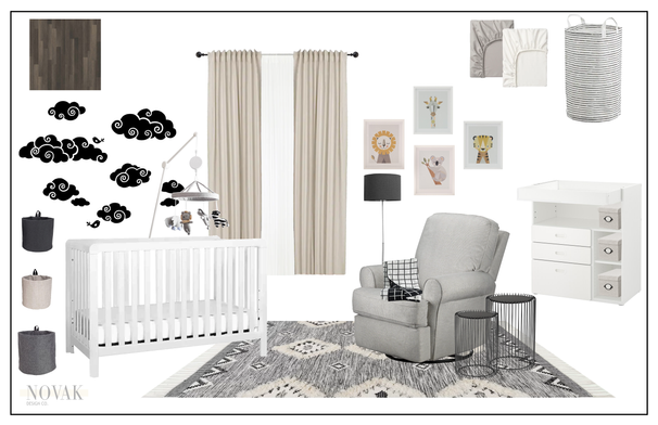 baby boy nursery with cloud wall decals