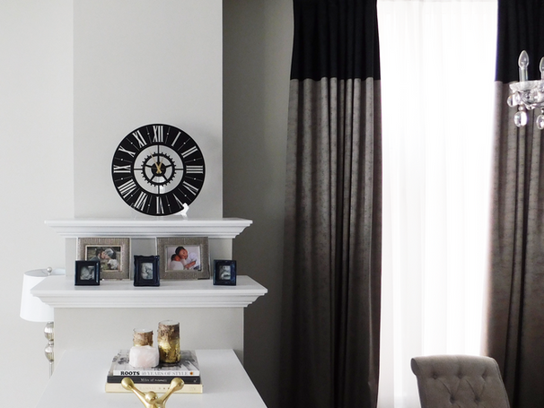 Modern and glam mantel on 3 sides fireplacee